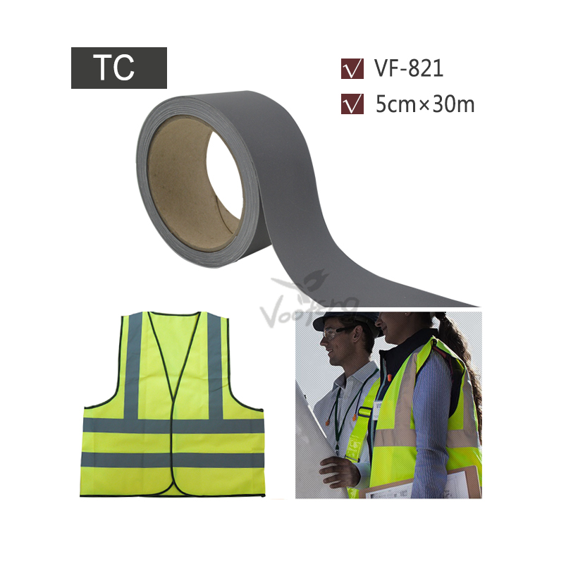 5cmx30m Grey Reflective Fabric Tape Sew on Vest or Jacket for Safety