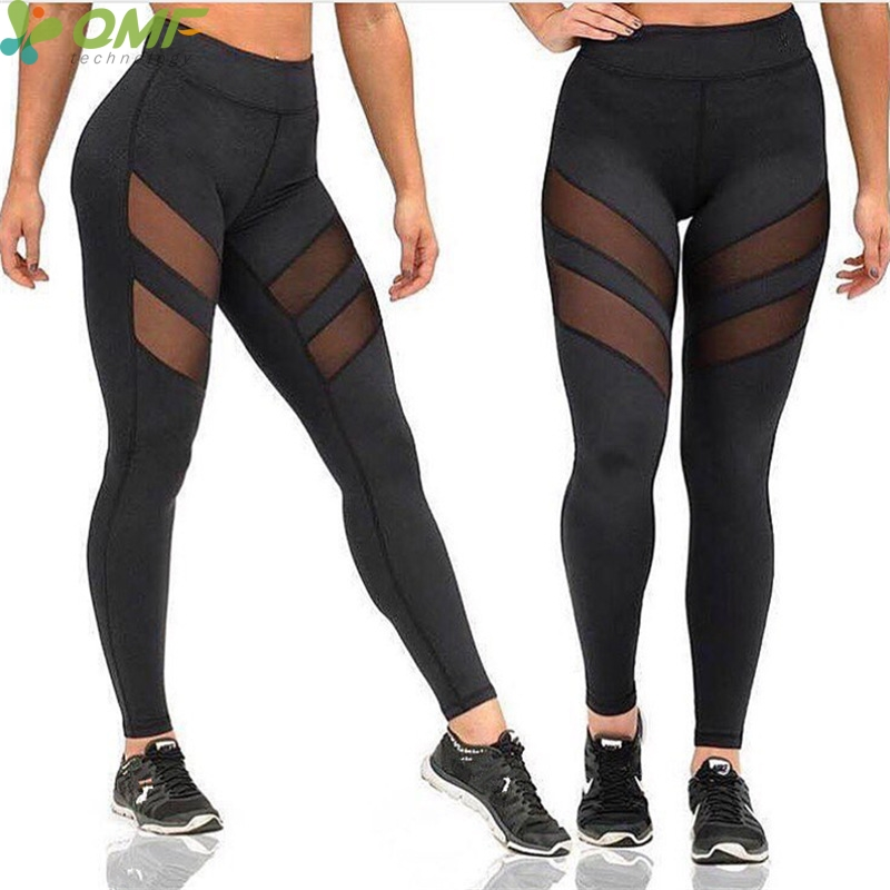 2017 Mesh Insert Leggings Fitness Gym Workout Yoga Pants Patchwork Butt -2590