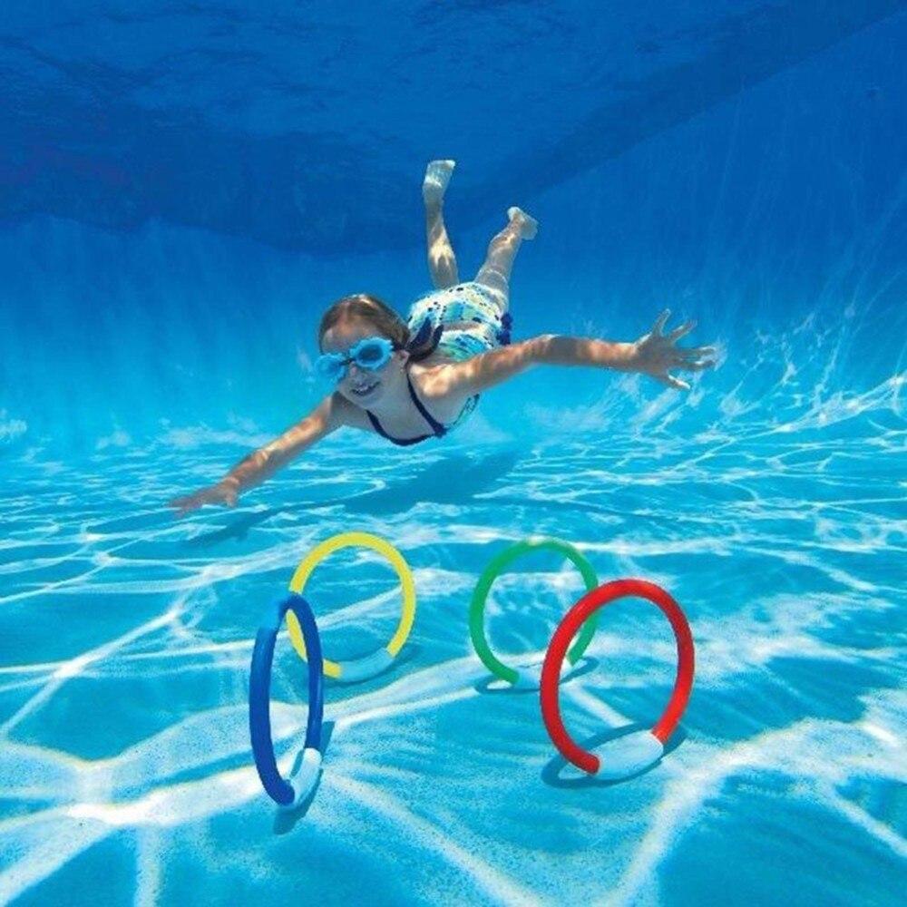 4pcs Dive Rings Throwing Toys Swimming Pool Diving Game Summer Children Underwater Diving Ring Water Sport