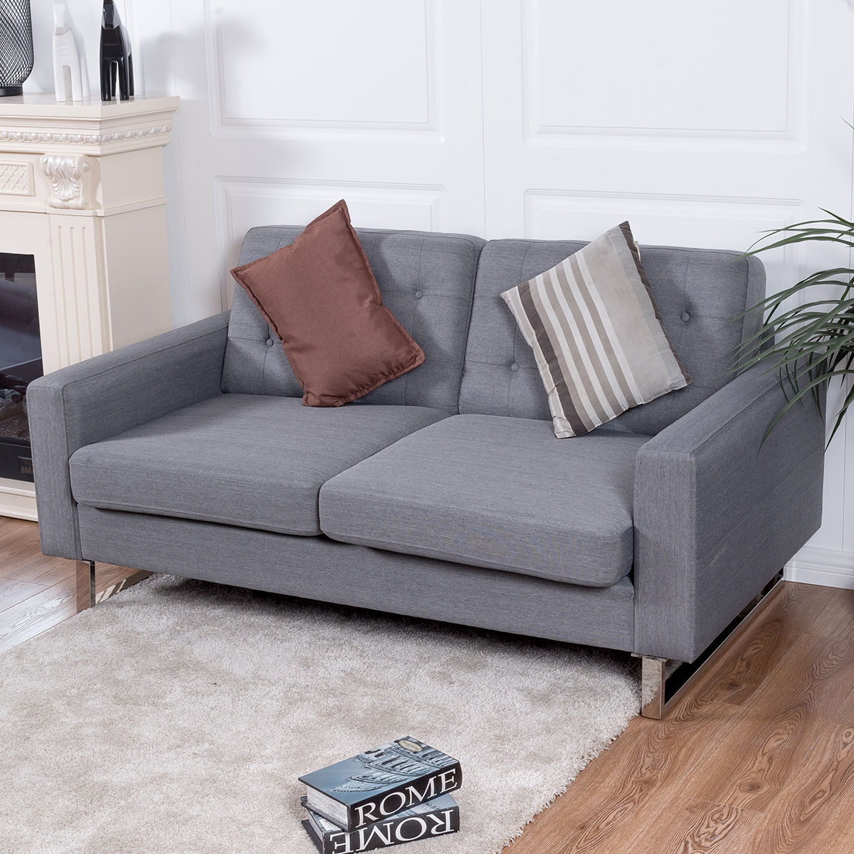 Giantex 2 Seat Sofa Couch Home Office Modern <font><b>Loveseat</b></font> Fabric Upholstered Tufted Luxury Sofas Living Room Furniture HW56261