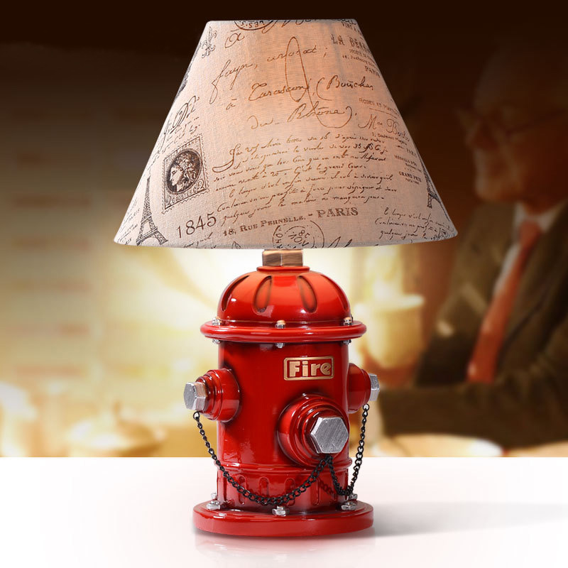 decorative table lamp bedroom bedside lamp fire hydrant creative of American living room lamp red lighing desk lamps ZA9921 ...