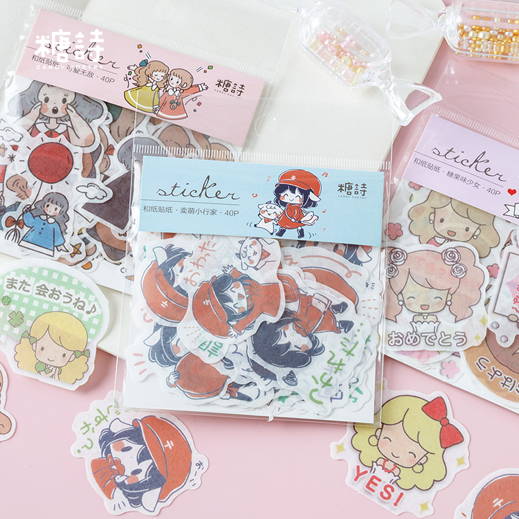 40pcs/pack Japanese Style Girls Label Stickers Decorative Stationery Stickers Scrapbooking Diy Diary Album Stick Label