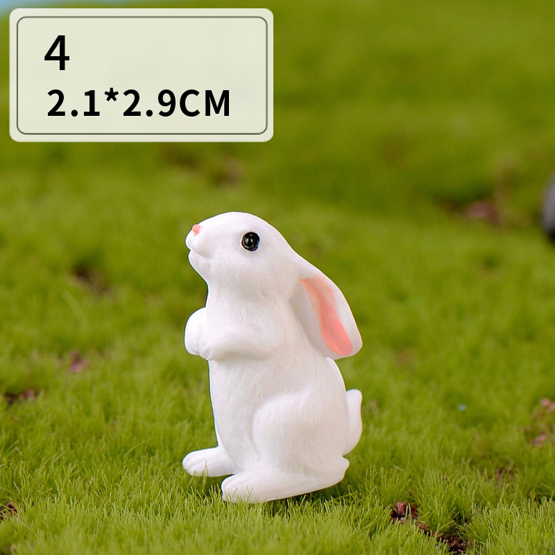 Easter Love White Rabbit Figures Funny Animal Model Miniature Figurines Fairy home Garden Wedding Doll Decoration Girl toy gift 5