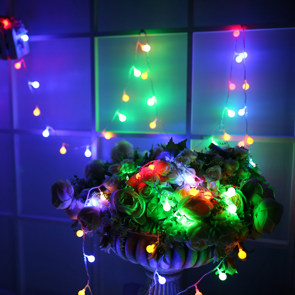 Christmas Led String Lights With White Ball 5m 10m 20m 30m 50m Holiday Decoration Lamp Festival Garland Wedding Outdoor Decor