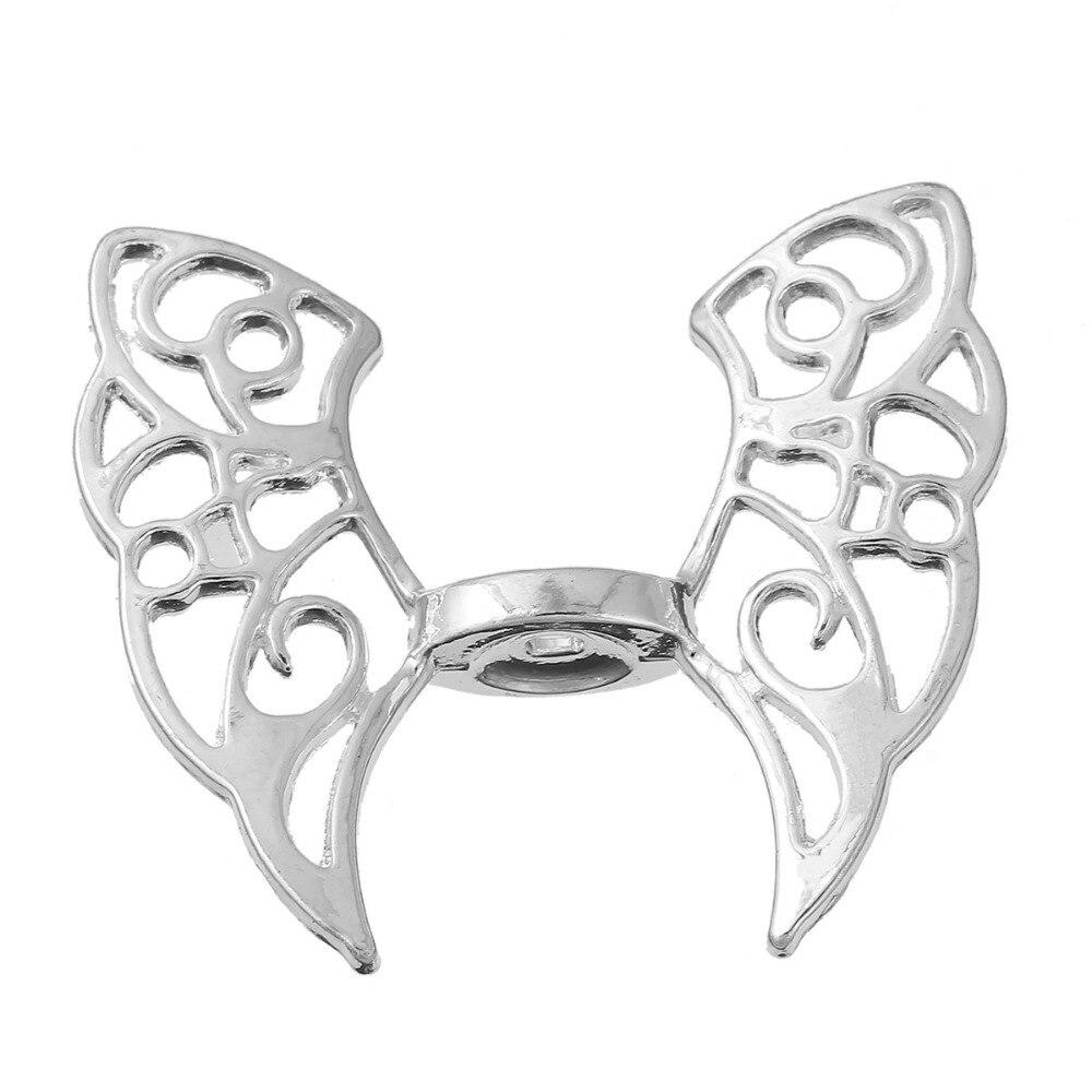 8 сезонов цинковый сплав на основе Spacer бабочка животных посеребренные крыло 43 мм (6/8 «) x 36 мм (1 3/8 «), отверстие: Приблизительно 2.5 мм, 3 шт.