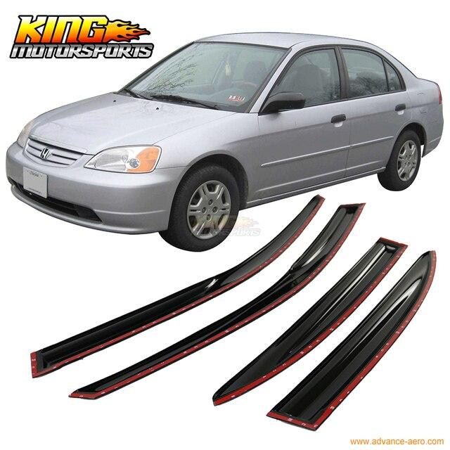 Для 2001-2005 Honda Civic Седан Полный Набор JDM Mugen Стиль Копченый Stick На Окна Козырьки США Отечественные Бесплатная доставка