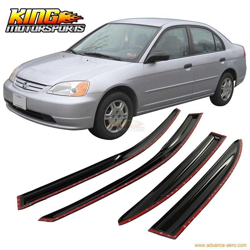 สำหรับ2001-2005 honda civic sedanครบชุดmugenสไตล์รมควันjdmติดบนหน้าต่างvisorsสหรัฐอเมริกาในประเทศฟรีการจัดส่งสินค...