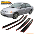 For 2001-2005 Honda Civic Sedan Full Set Mugen Style Smoked JDM Stick On Window Visors USA Domestic Free Shipping