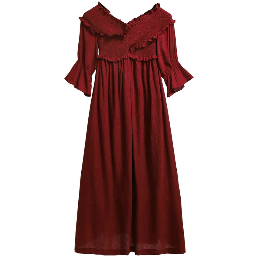 Women Smock Dresses Wine Red Maxi Dress Woman Ruffle Sleeve Robe Femme Empire Waist Vestidos Leisure Romantic Dress Boho Style
