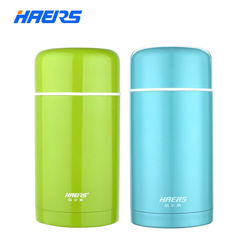 Haers 1L Hot Food Thermos Container 304 Stainless Steel Insulated Thermal Lunch Box for Food Green