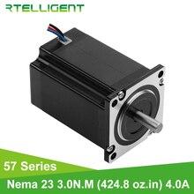 Rtelligent 57A3 4-lead Nema 23 шаговый двигатель 3N. M(424,8 oz-in) 57 двигатель 100 мм 4A 8 мм Diame для гравировального фрезерного станка с ЧПУ