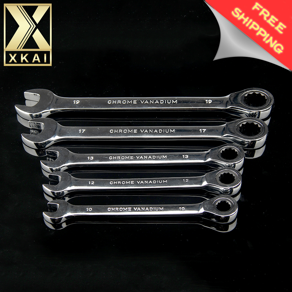 XKAI 10.12.13.17.19mm 5PC Ratchet Spanner Combination wrench a set of keys gear ring wrench ratchet handle Chrome Vanadium