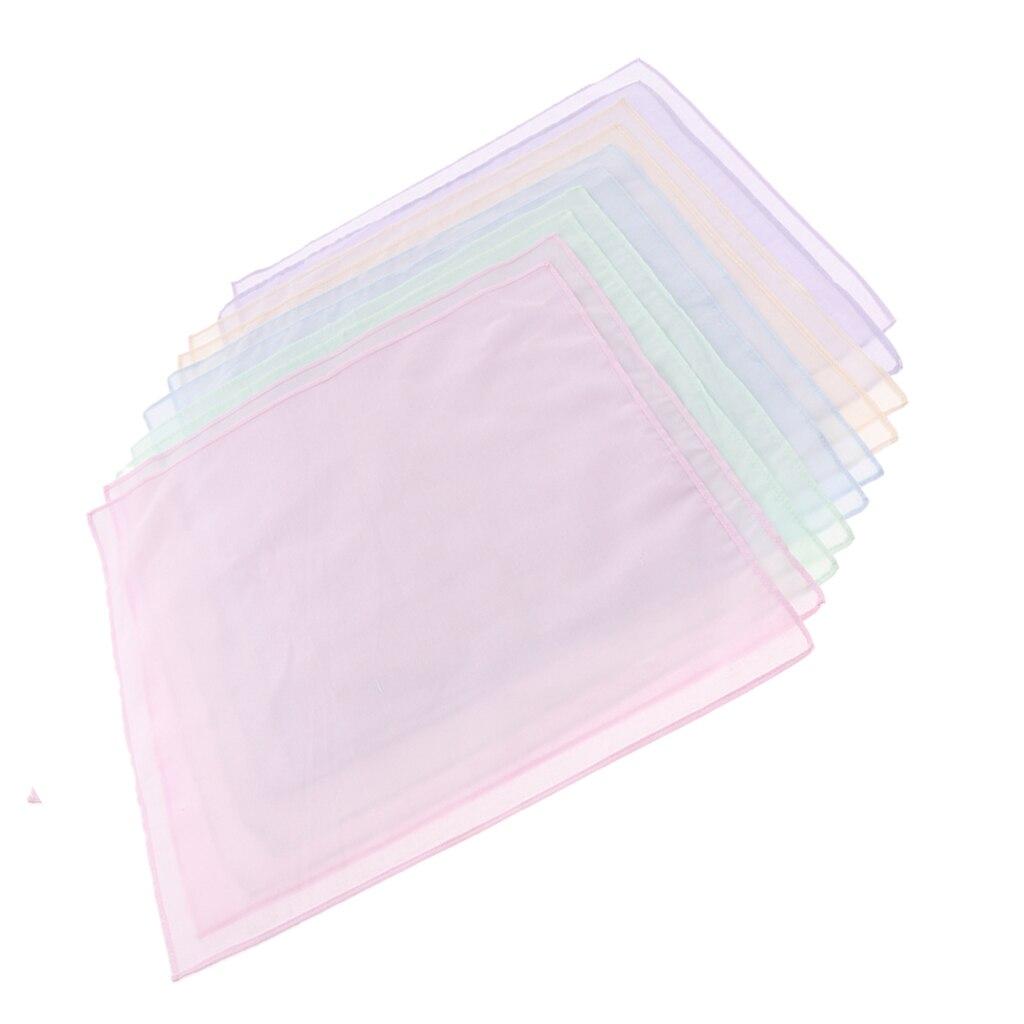 10 Pack Solid Multicolor Handkerchiefs 100% Cotton Classic Hankies