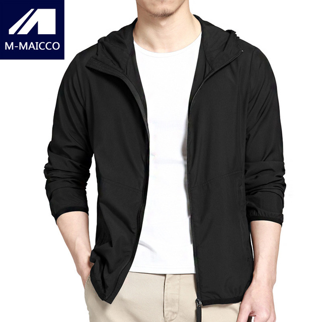 M-MAICCO Thin Casual Jacket Men's Slim Hooded Summer Breathable Sun Protection Jacket Black Navy Brand Men's portable Jacket
