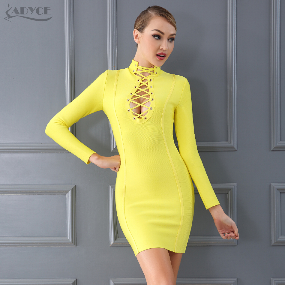 Adyce 2019 New Elegant Yellow Bandage Dress Women Luxury Lace Up Hollow Out Club Dress Celebrity