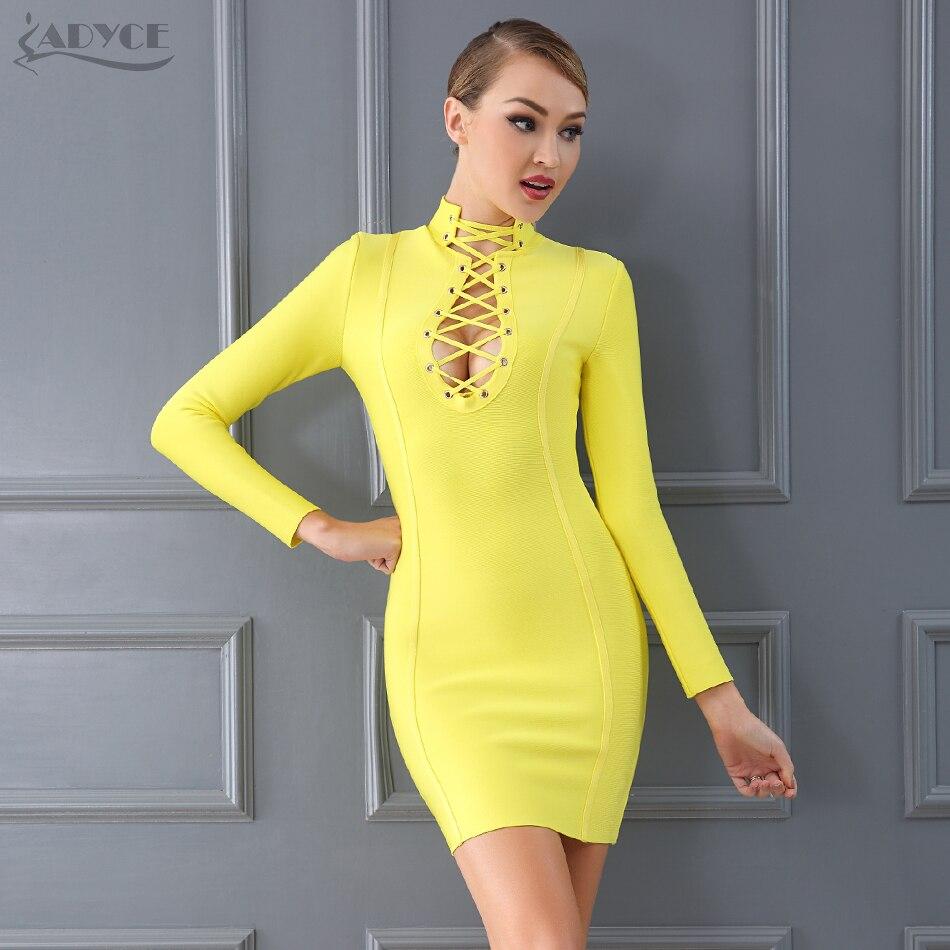 Adyce 2019 nowy elegancki żółty bandaż sukienka kobiety luksusowe sznurowane drążą klub sukienka gwiazdy wieczoru impreza sukienki Vestidos w Suknie od Odzież damska na AliExpress - 11.11_Double 11Singles' Day 1