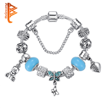 BELAWANG European Authentic BEADS jewelry Silver bracelet with horse star flower crystal charm bracelets bangles for