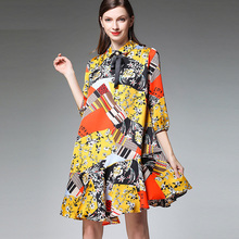 Plus size womens fashion Chiffon printing dresses casual loose high waist Stand neck Elegant mini dress Big size spring new недорого
