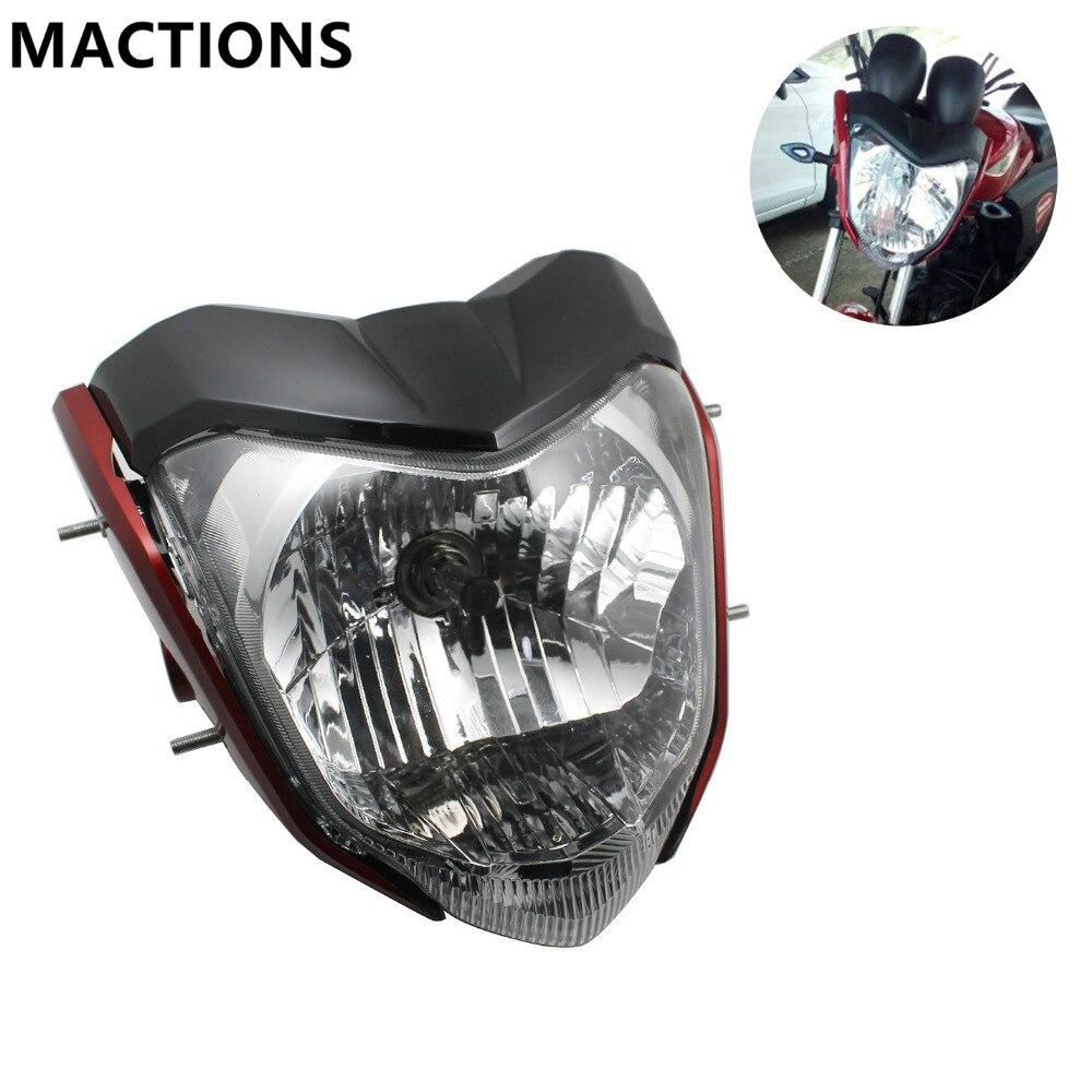 Phare de moto universel Rracing avec ampoule et support utilisé pour Yamaha FZ16 rouge noir argent