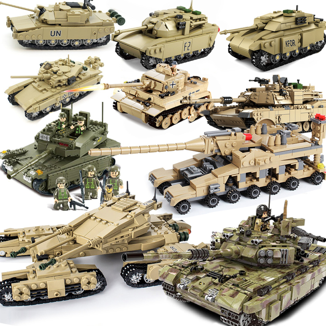 KAZI Compatible  Tank german ww2 Tiger M1A2 sets military model building kits blocks army world war 2 1 kids toys technic