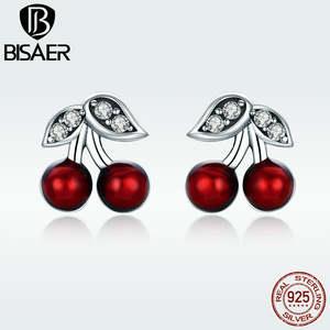 bbb1a8b44 Stud Earrings Authentic 925 Sterling Silver Red Enamel Cherry Fruit Women  Stud Earrings Female Birthday Girl Gift GXE404