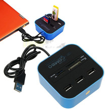 USB 2.0 hub Combo All In One Multi-card Reader with 3 Ports for MMC/M2/MS Blue Color Wholesale  2016 new hot