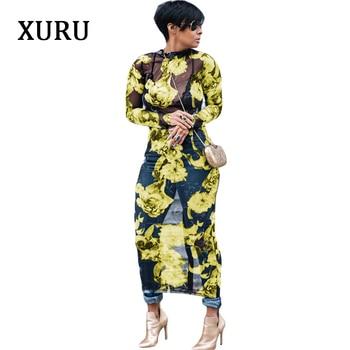 71a273da31e1f4c XURU осеннее женское платье с длинным рукавом с цветочным принтом  прозрачные сетчатые длинные облегающие платья Уличная Повседневная одежда.