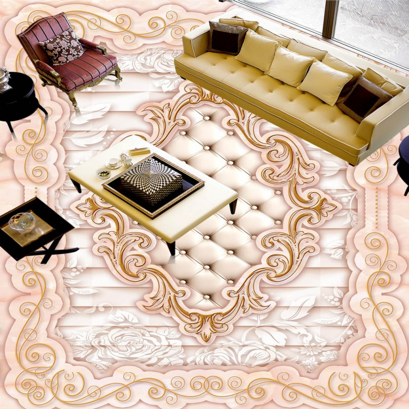 ФОТО Free Shipping picture floor wallpaper European pattern jade flooring painting shopping mall self-adhesive floor mural