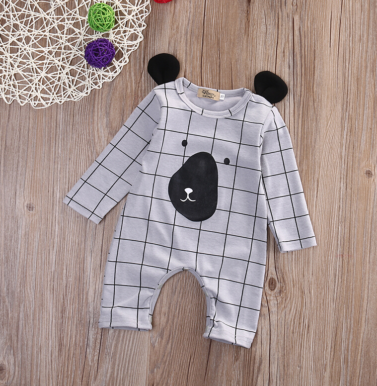 Newborn Baby Kids Boys Girls Clothes Rompers Long Sleeve Bear Clothing Plaid Jumpsuit Romper Autumn Outfits baby hoodies newborn rompers boys clothes for autumn hooded romper cotton jumpsuit child kids costumes girls clothing