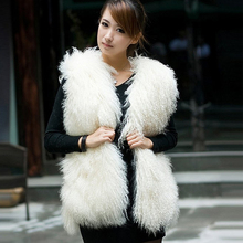 2016 Winter Women Genuine Mongolia Sheep Fur Waistcoat lady Tibet Sheep Fur Vest With O-neck Female lamb Jacket Free Shipping