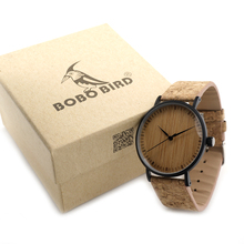 BOBO BIRD E17 Mens Fashion Causal Bamboo Wooden Watches Stainless Steel Case Top Brand Design Watch for Men