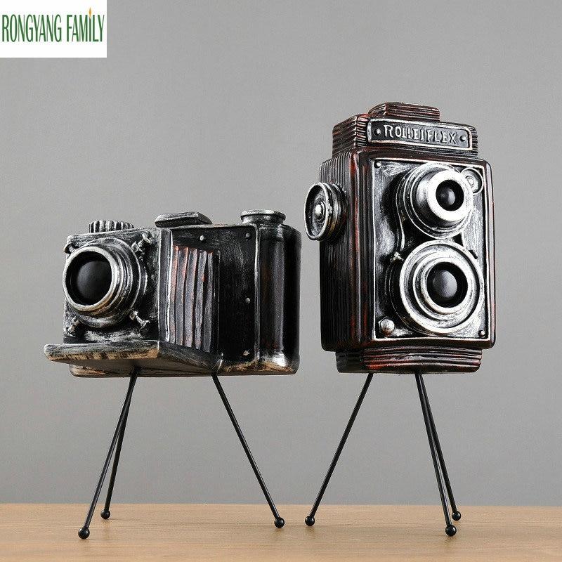 Nordique rétro résine caméra Miniatures Figurines artisanat Vintage Antique caméra Sculptures modèle maison décoration artisanat Statues