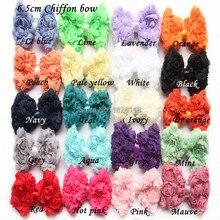 ФОТО free shipping 20pcs/lot chiffon hair rose bow flower hair accessory for baby headband 20colors shabby hair bow flower stock