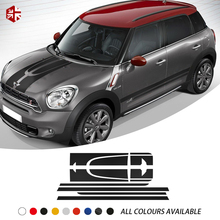 Racing Car Hood Bonnet Engine Cover Rear Trunk Side Stripe Sticker Body Kit Vinyl Decal For MINI One Cooper S JCW Countryman R60 car styling side racing stripes hood rear engine cover trunk vinyl decal sticker for bmw mini cooper countryman r60 2013 2016
