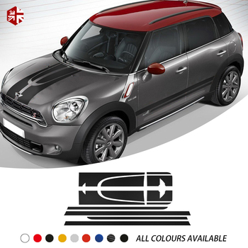 Racing Car Hood Bonnet Engine Cover Rear Trunk Side Stripe Sticker Body Kit Vinyl Decal For MINI One Cooper S JCW Countryman R60