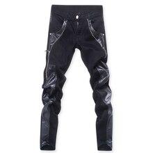 Прямая, модные мужские кожаные брюки, обтягивающие кожаные брюки, модные дизайнерские джинсы на молнии, брюки ABZ79