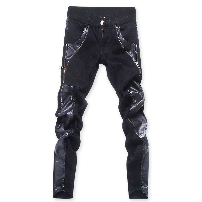 drop shipping fashion men leather pants skinny leather trousers fashion zippers design   jeans   pants ABZ79