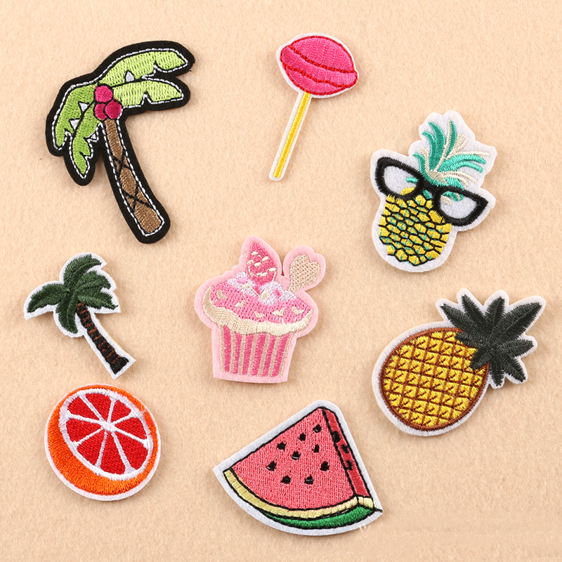 8pc New Coconut Tree Cake Orange Pineapple Embroidery Patches for Clothing Iron on Clothes Jeans Appliques Badge Stripe Sticker