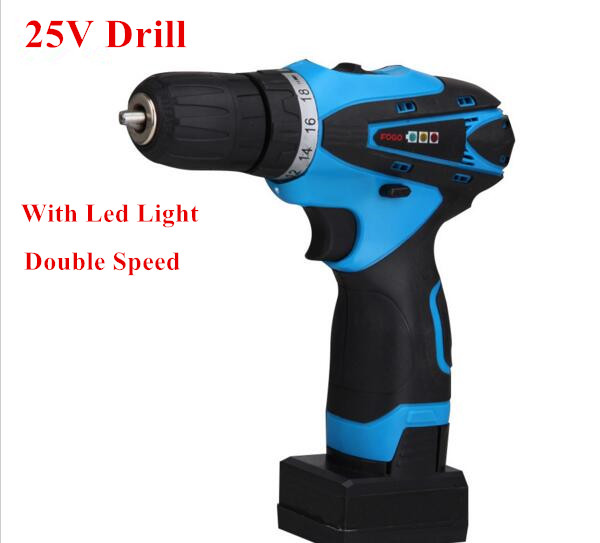 25V Rechargeable Lithium Battery Cordless drill hand electric drill bit Socket wrench household electric screwdriver power tool