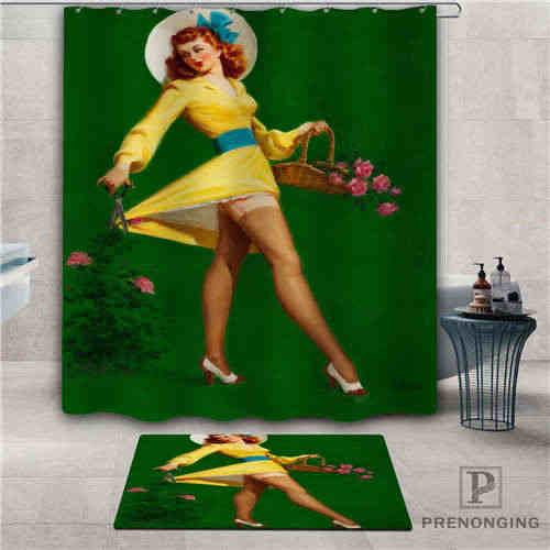 Custom pin-up-girl (7) Waterproof Shower Curtain  Doormat Home Bath Bathroom  Polyester Fabric Multi Sizes#2019-1-05-76