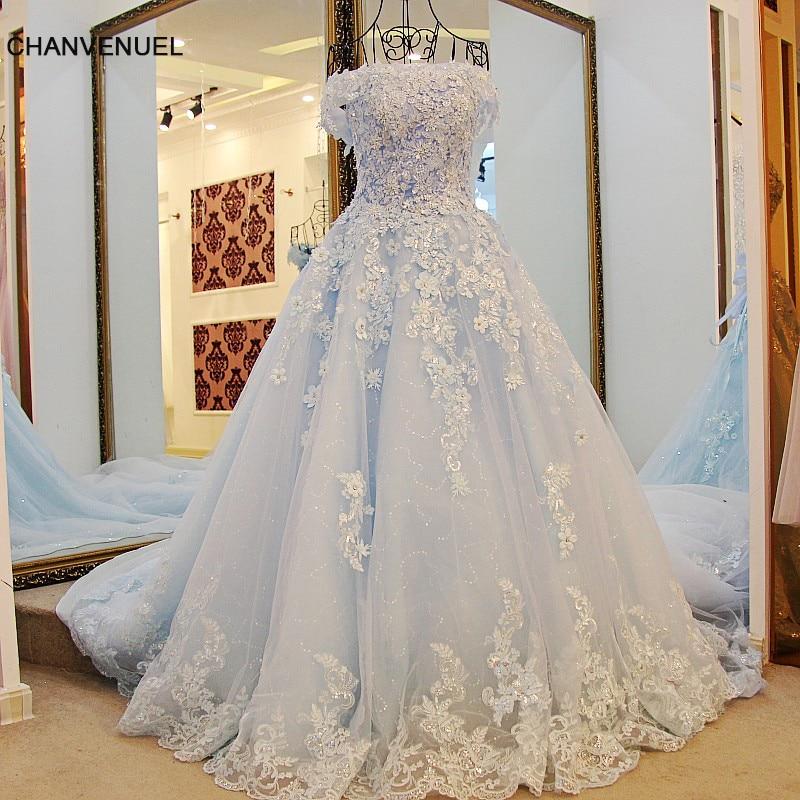 LS98850 Nuevos vestidos de fiesta de organza de manga corta Vestido largo azul Vestidos de fiesta Vestido de una línea por 15 años vestidos baratos