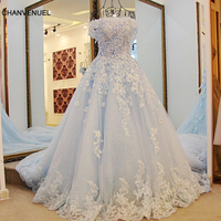 LS98850 New Short Sleeve Organza Prom Dresses Blue Long Pageant Dress Vestidos De Fiesta A line Dress for 15 Years