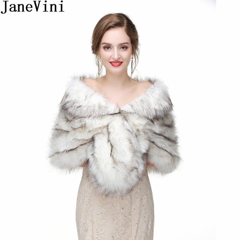 JaneVini Bolero Fille Winter Faux Fur Wrap Shawl For Wedding Party Dress Women Fur Stole Bridal Bolero Shoulder Cape Accessories