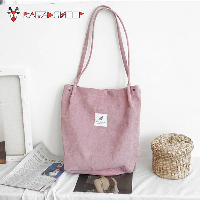 Raged Sheep Women Shopping Bags Ladies Corduroy One Shoulder Bags Girls School Bags Women Big Capacity