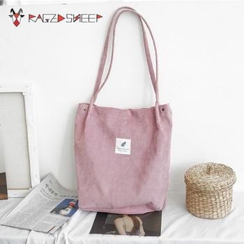 Raged Sheep Women Shopping Bags Ladies Corduroy One Shoulder Bags Girls School Bags Women Big Capacity Beach Eco Folding Bag C14