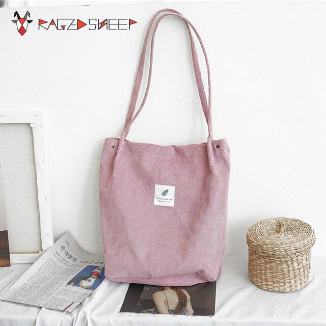 49336e2975 Raged Sheep Women Shopping Bags Ladies Corduroy One Shoulder Bags Girls  School Bags Women Big Capacity