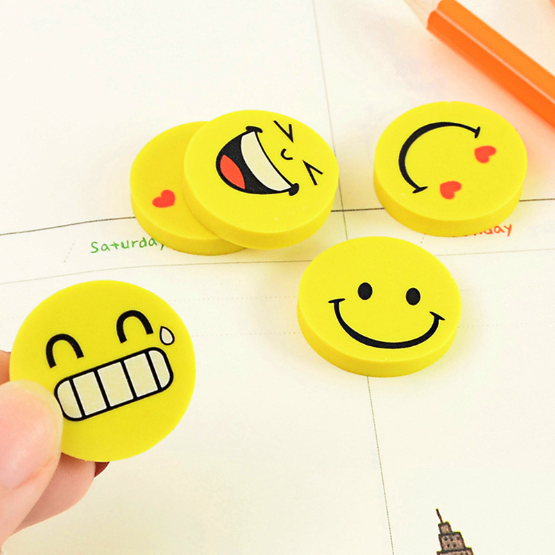 4 Pcs/lot Creative Smiley Face Rubber Erasers Novelty Kawaii Stationery Office School Supplies Gift For Kids