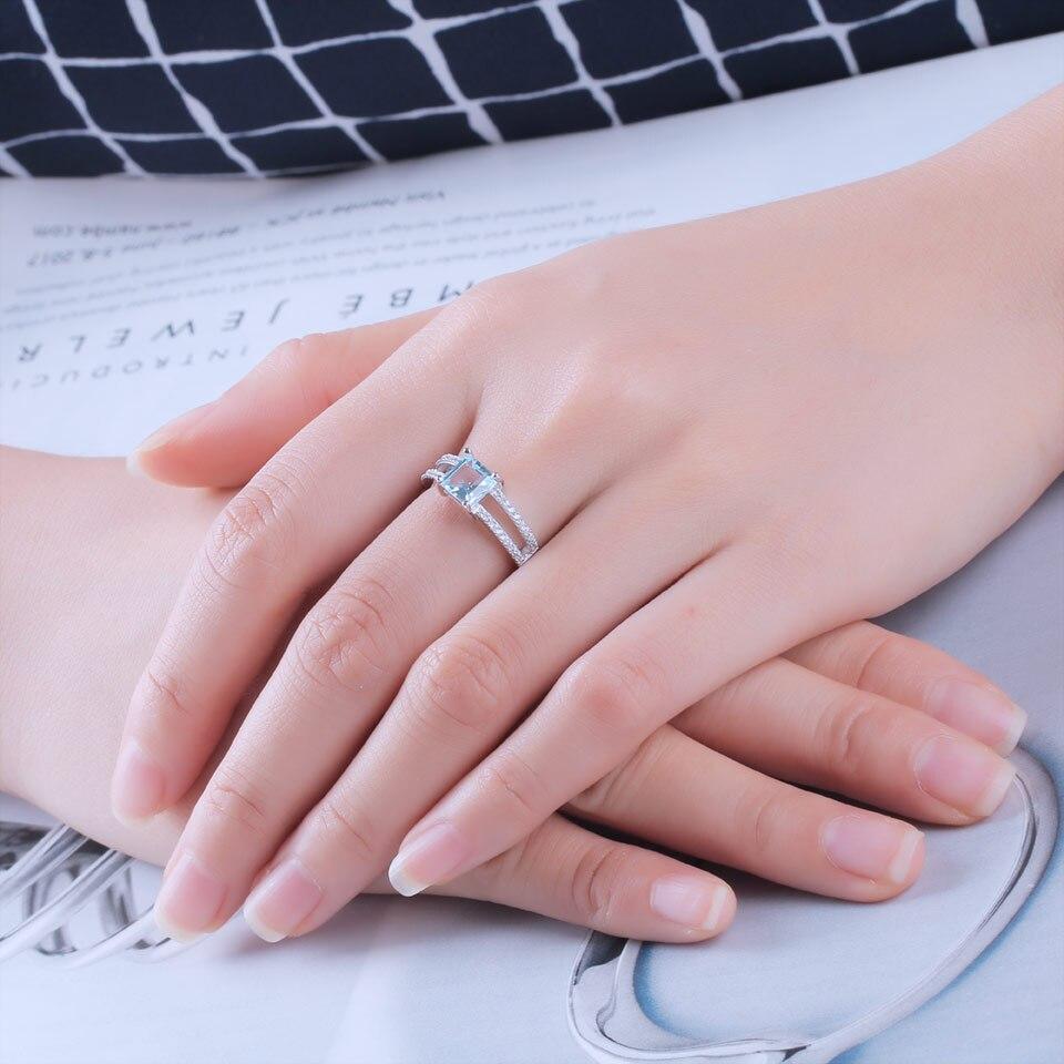 UMCHO conjunto de joyas de plata de ley 925 Nano aguamarina cielo azul Topacio anillo colgante pendientes de collar para las mujeres joyería fina - 5