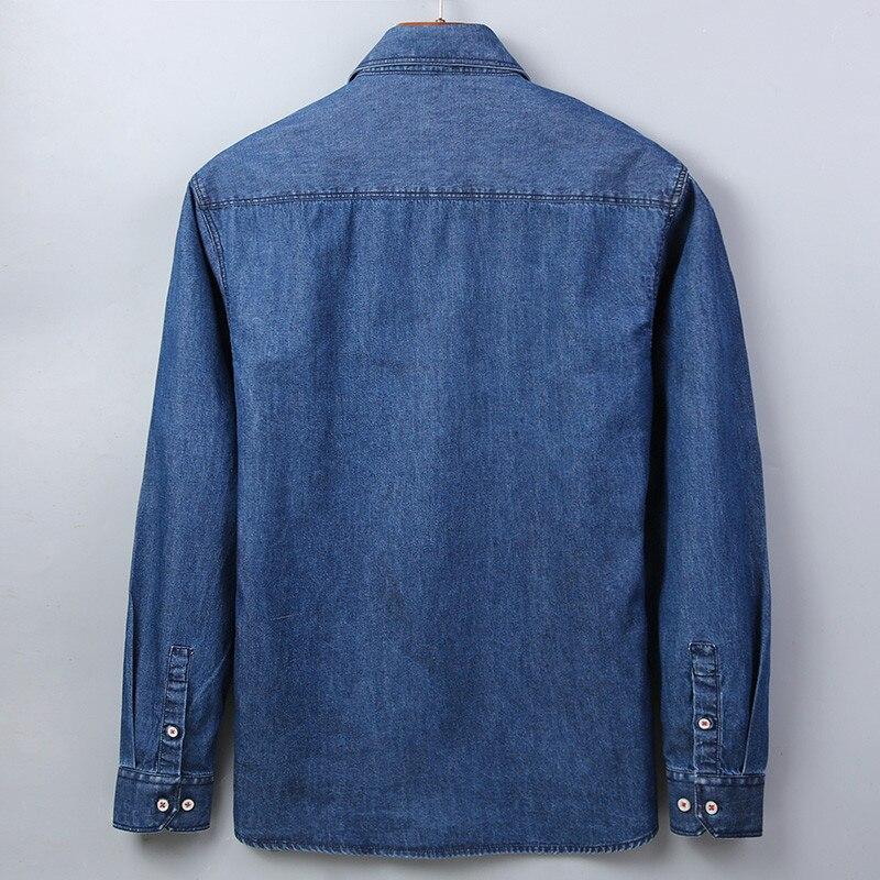 Casual Denim Shirt men Long Sleeve Cotton regular Fit denim Jeans shirt western Fashion Man's Clothes Easy Care 2020 Comfortable 6