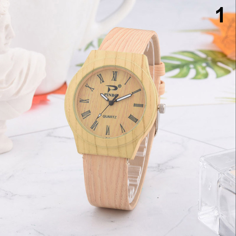 Men Women Quartz Watch PU Leather Wood Pattern Wristwatch Student Sport Casual Watches NFE99